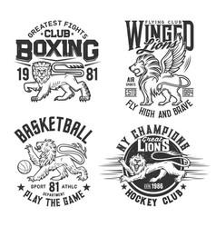 Lion animal t shirt print basketball hockey club vector