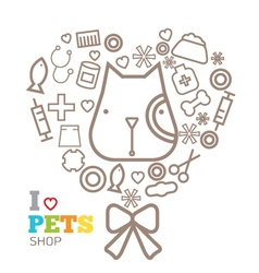 logo design template for pet shops set vector image