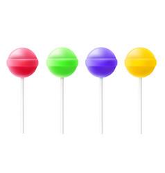 Lollipop candies on stick set realistic vector