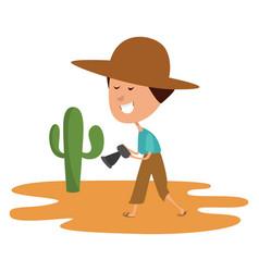 Man in desert on white background vector