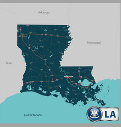 Map of state louisiana usa vector