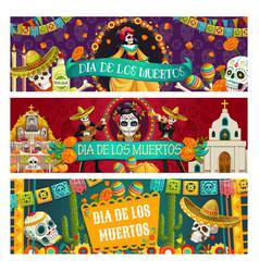Mexican day dead holiday dia de los muertos vector