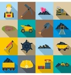 Mining Icons set flat style vector image