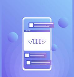 mobile web development concept mobile app vector image