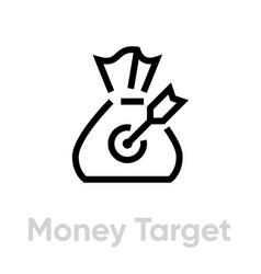 Money target icon editable line vector