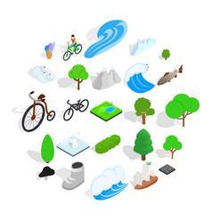 nature icons set isometric style vector image