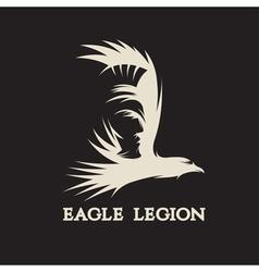 Negative space concept warrior head in eagle vector