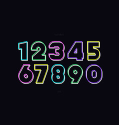 Number set neon style vector