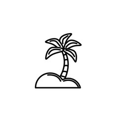 palm tree tropical summer icon line vector image