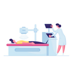 Patient character lying down on x-ray or mri scan vector