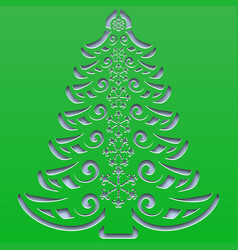 Patterned christmas tree with snowflakes carved vector