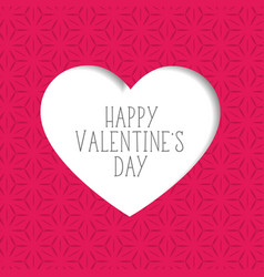 pink valentines day background with paper cut vector image