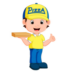 Pizza delivery man cartoon vector