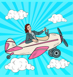 Pop art business woman riding vintage airplane vector