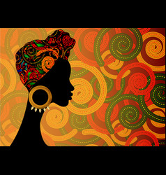 Portrait afro woman shenbolen ankara head wrap vector