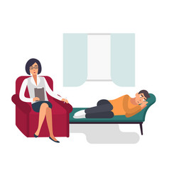 Psychotherapy concept patient man with a vector