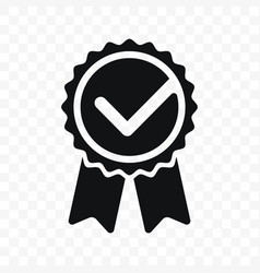 quality check ribbon icon product certified or vector image