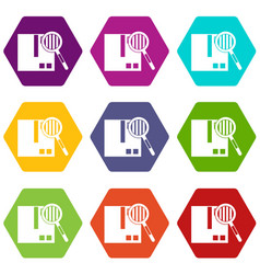 quality control icon set color hexahedron vector image