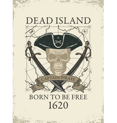 Retro banner with pirate skull and old map vector