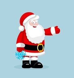 Santa Claus with snowflake presenting something vector