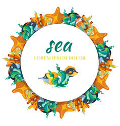 Sealife round banner design - banner with cartoon vector