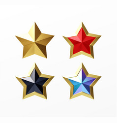 set golden realistic stars red isolated vector image