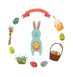 set of flat style easter decoration elements vector image