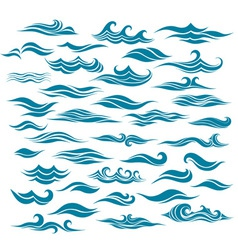 set stylized waves from element design vector image