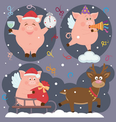 set with piggies and a deer for holidays vector image