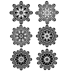 Simple Black and White Flowers vector