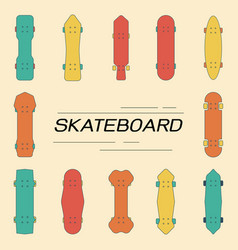 skateboard collection flat line design style vector image