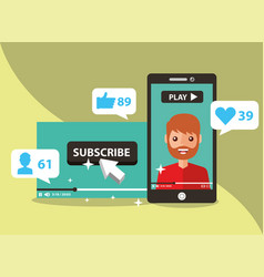 Smartphone with man on screen subscribe popular vector