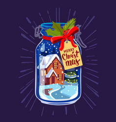 snow mason jar new year vector image