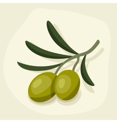 Stylized of fresh ripe olive branch vector