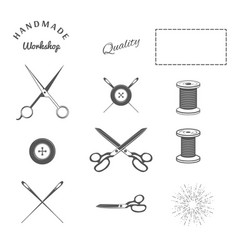 tailor sewing design elements crossing scissors vector image