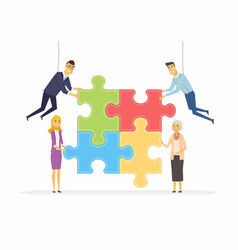 Team building in a company - modern cartoon people vector