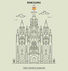 temple expiatori del sagrat cor in barcelona vector image