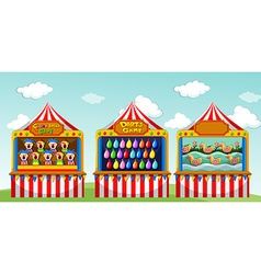 Three game boothes at the circus vector
