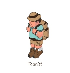 tourist with a backpack on his back Isometric vector image