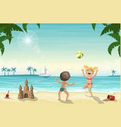 Two kids are playing on the beach vector