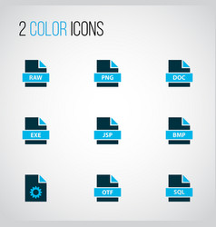 types icons colored set with file exe file sql vector image