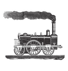 vintage engraving a high-speed locomotive vector image