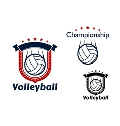 Volleyball game emblems with flying balls vector
