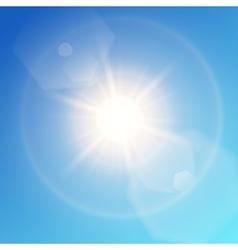 Warm sun on sky vector