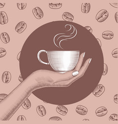 womans hand holding a coffee cup vector image