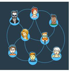 world social network concept vector image