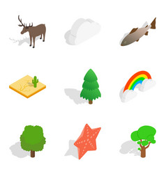 Zoological icons set isometric style vector
