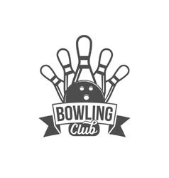 bowling emblem label badge and designed elements vector image