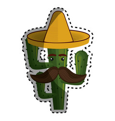 sticker animated cartoon cactus with mexican hat vector image