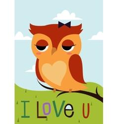 Cartoon owl on a tree branch card vector